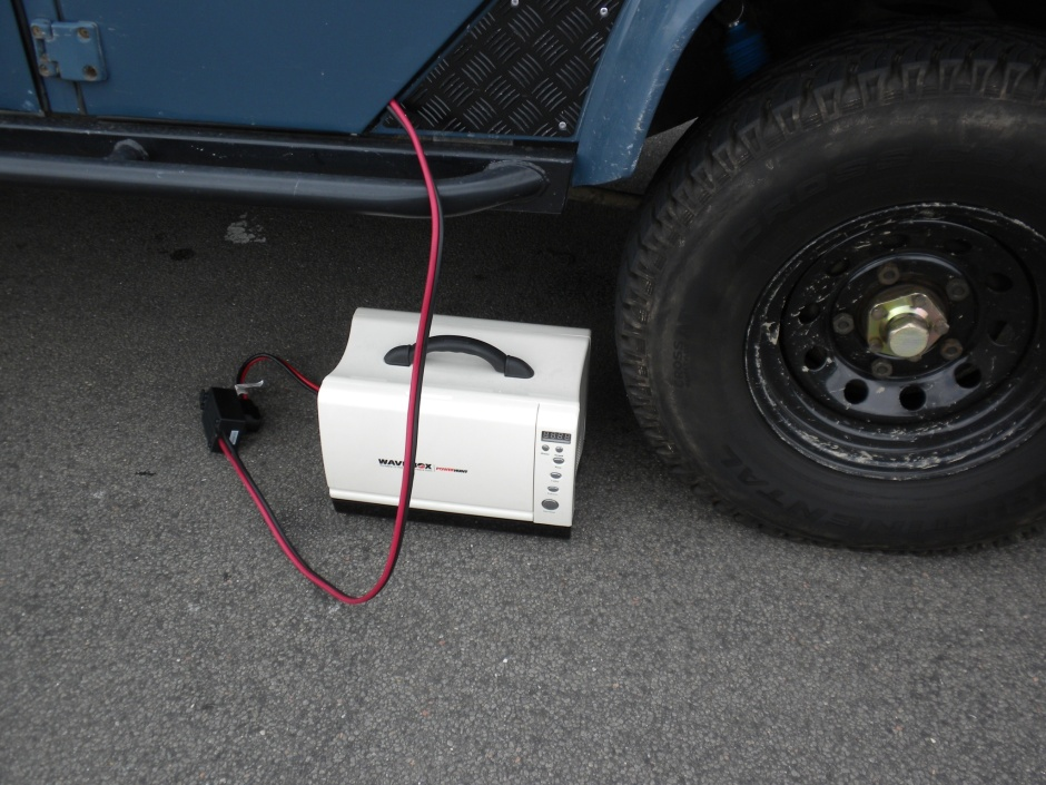 Wavebox next to the Defender wheel, for size comparison