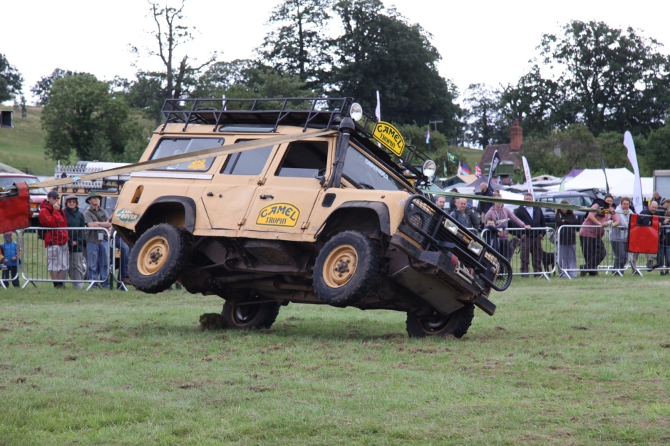 Defender being winched over