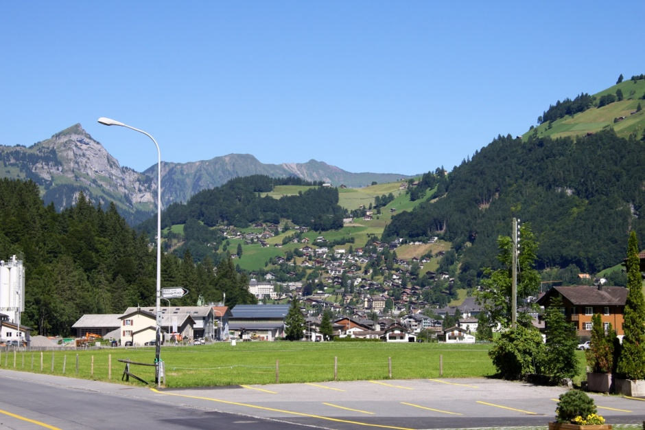 The village of Engelberg, as viewed from the campsite.