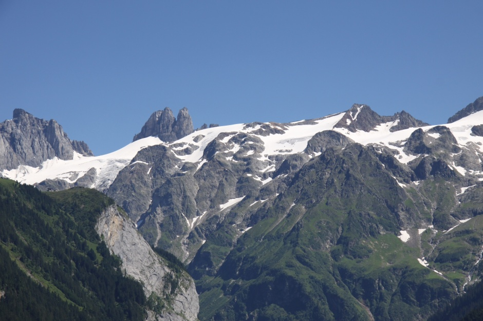 It's blazing hot in the village and campsite but there is still snow on the peaks