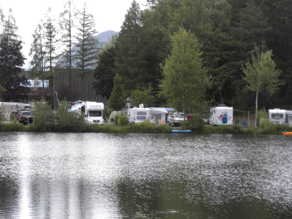 Our tent is tucked away behind a couple of rows of caravans that you see
