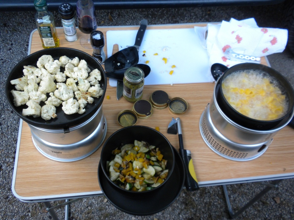 Now stir-frying cauliflower whilst pasta finishes cooking.
