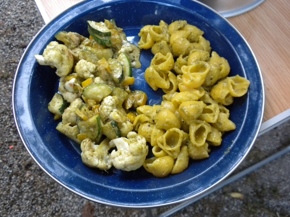 Not very visibly appealing, but the pasta and veggies are now coated in pesto. Tasted OK.