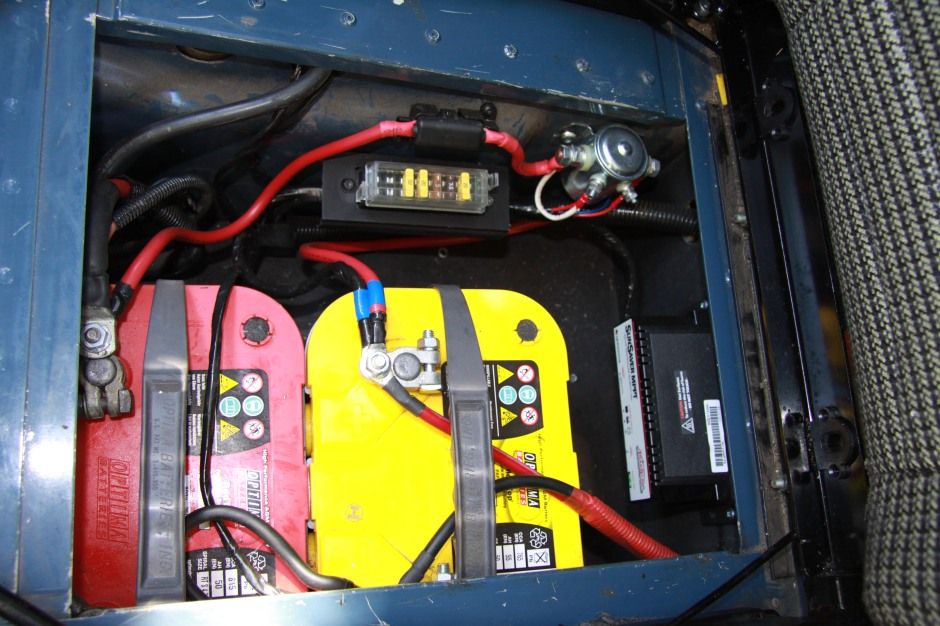 Underseat battery box - two Optima batteries, solar panel regulator, split charge system