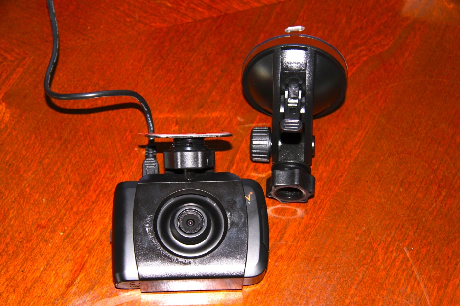 Comparison showing the adhesive mount attached, next to the suction mount