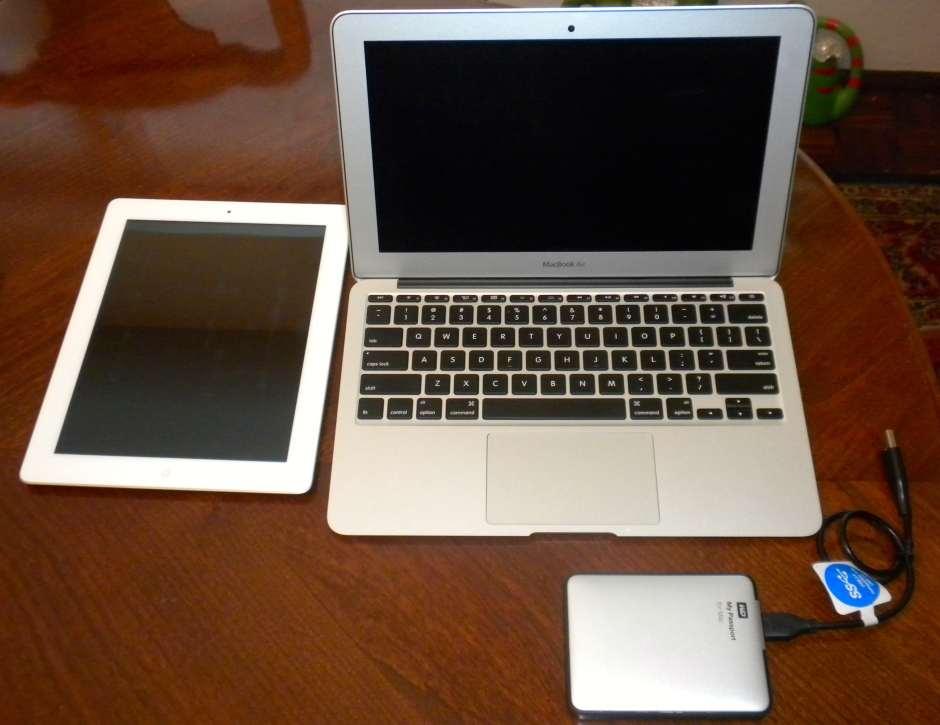 Macbook Air, iPad and WD My Passport back up drive