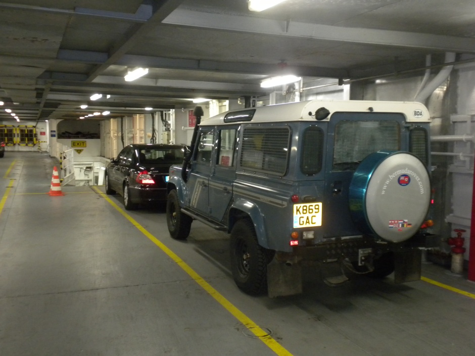 My Defender loaded onto the DFDS Seaways ferry to Dunkirk