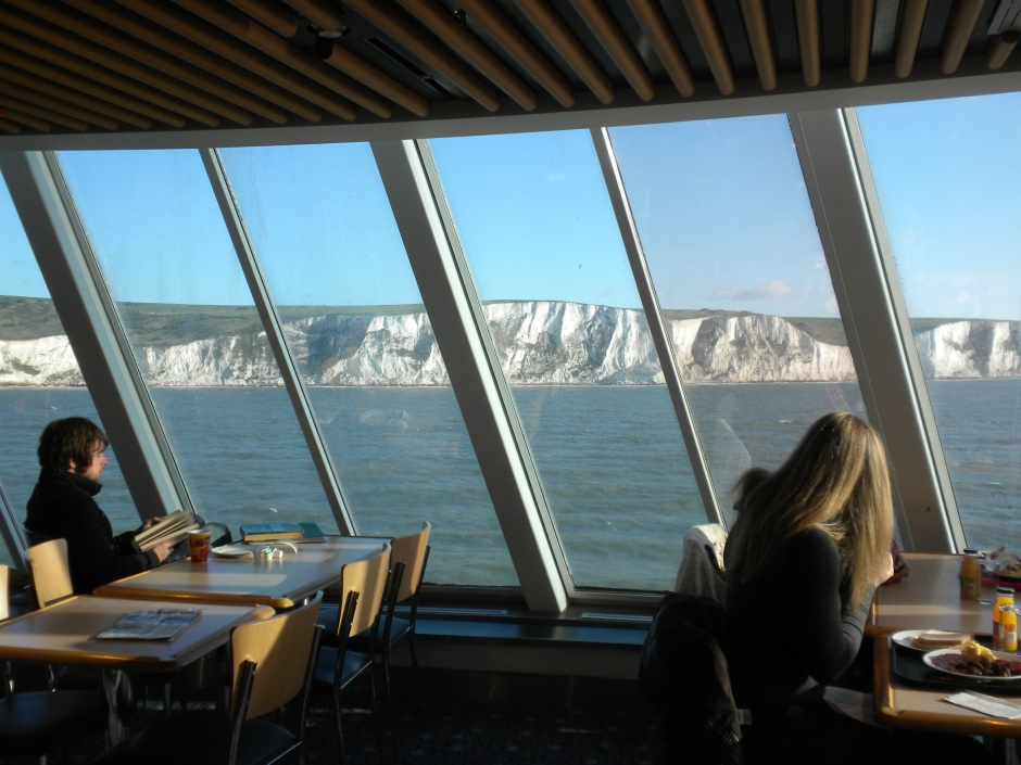 I enjoyed a full English breakfast as the ferry left the white cliffs of Dover behind