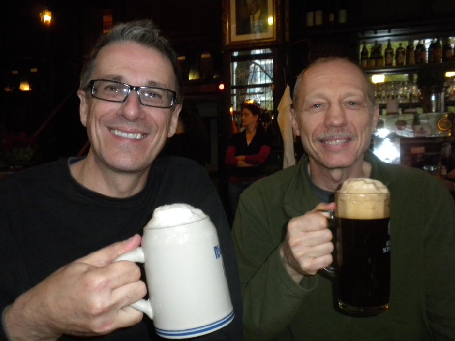 Klaus and I enjoying draught German beer
