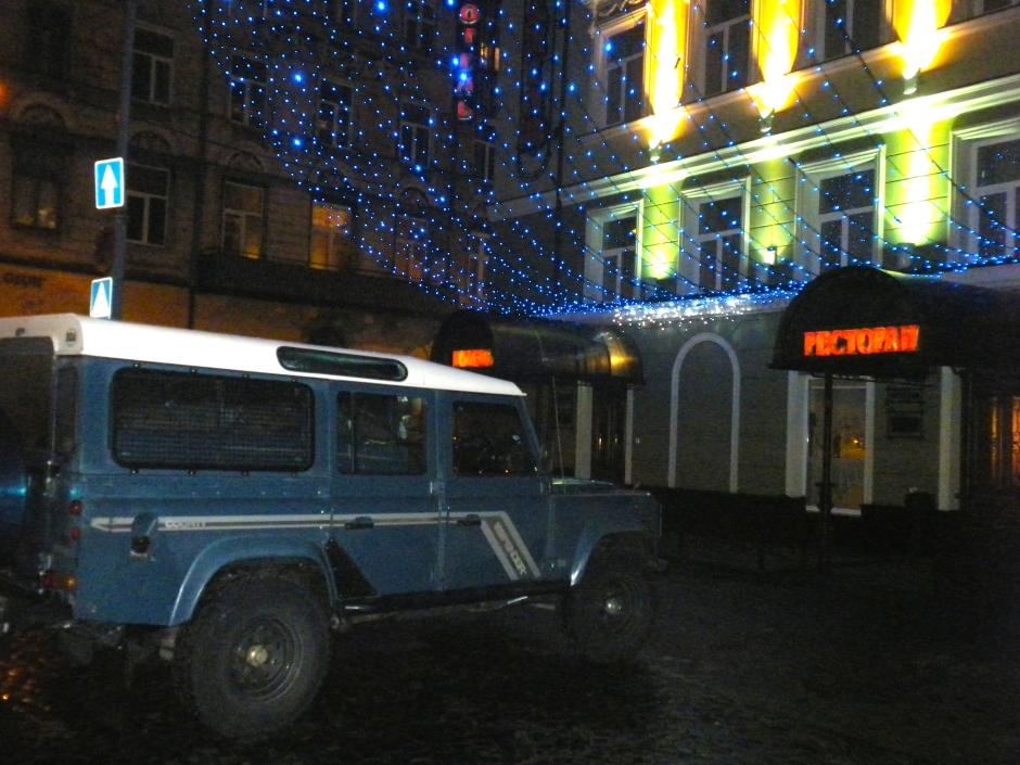 Defender parked outside the Lviv hotel