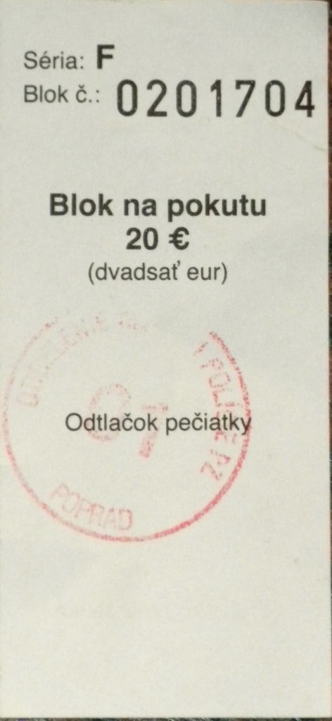 Receipt for the 20 Euro traffic fine