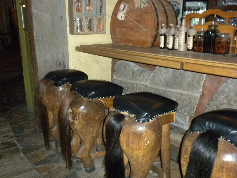 Bar stools in the restaurant. Giddy-up!