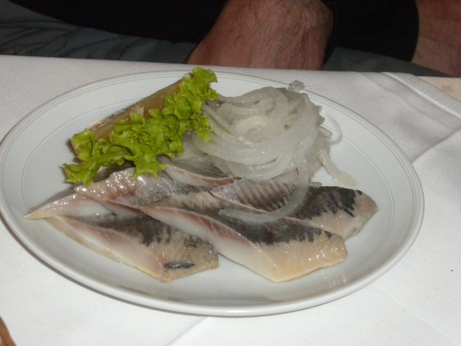 Marinated herring and onions