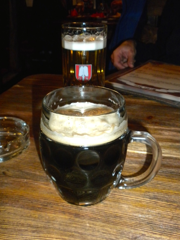 A dark Czech beer for me and a German lager for Klaus - in a German Beer House in Kazan!