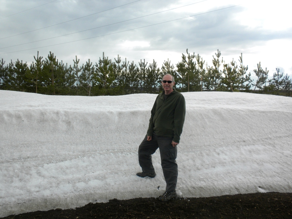 A snow bank that we passed along the way. Still pretty cold!