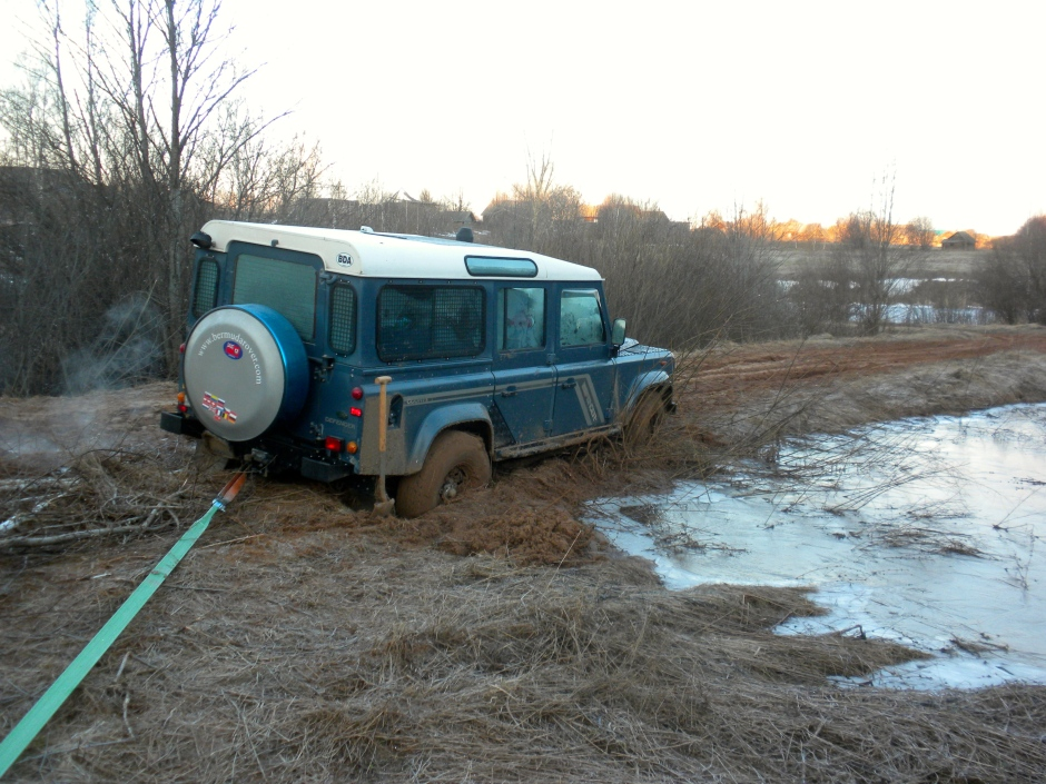 The morning scene. Defender stuck next to a frozen pond.