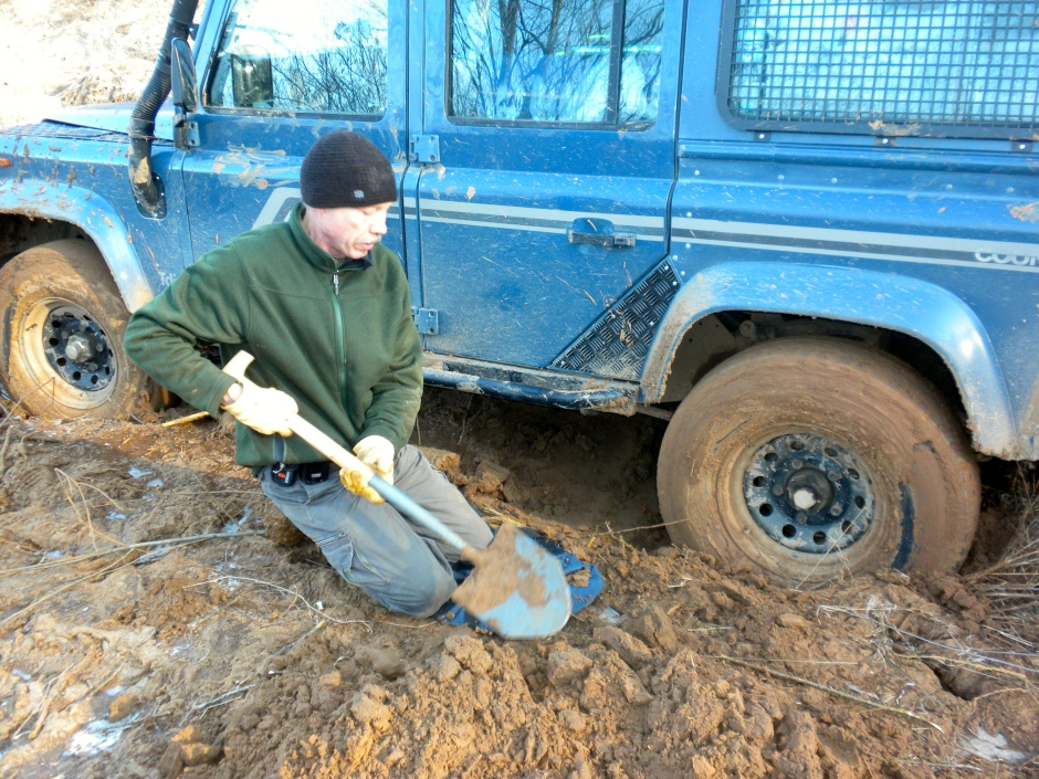 To shovel the mud out, I needed to get down on my knees initially.