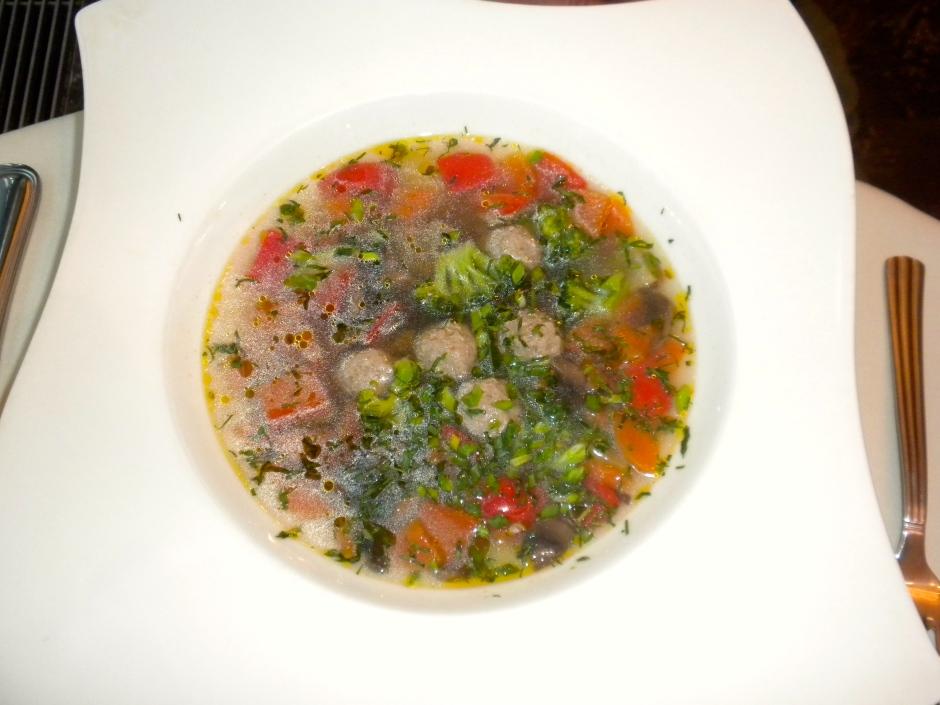 Klaus' vegetable soup with venison quenelles