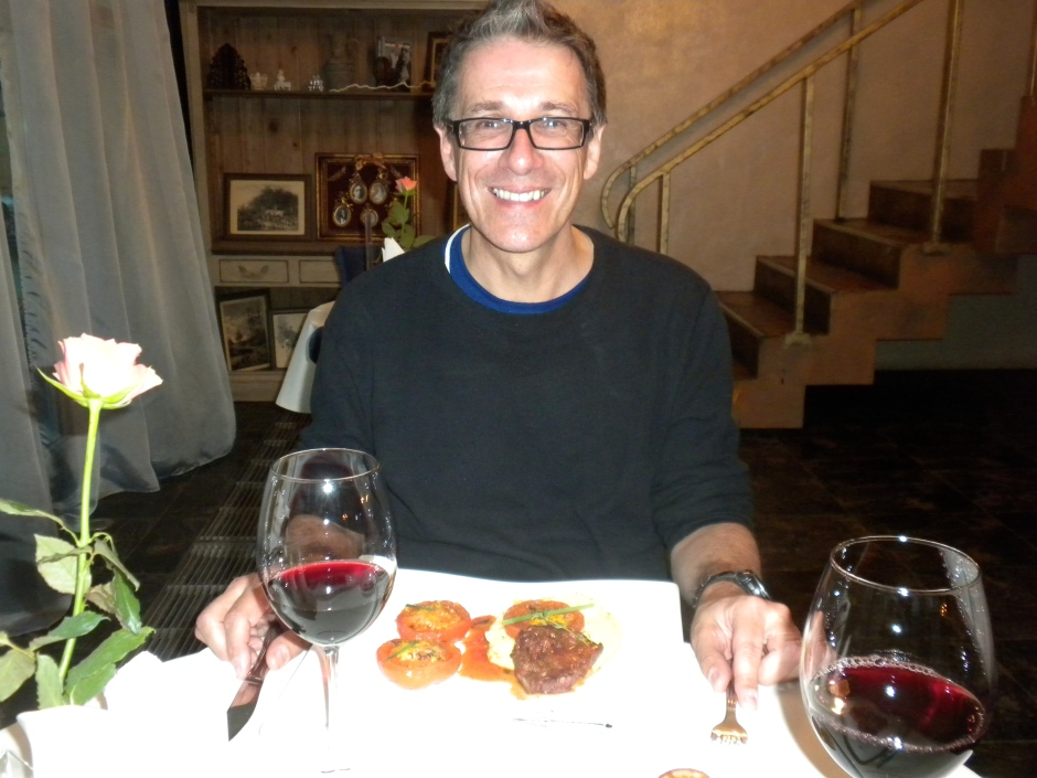 Klaus getting ready to tuck into his venison