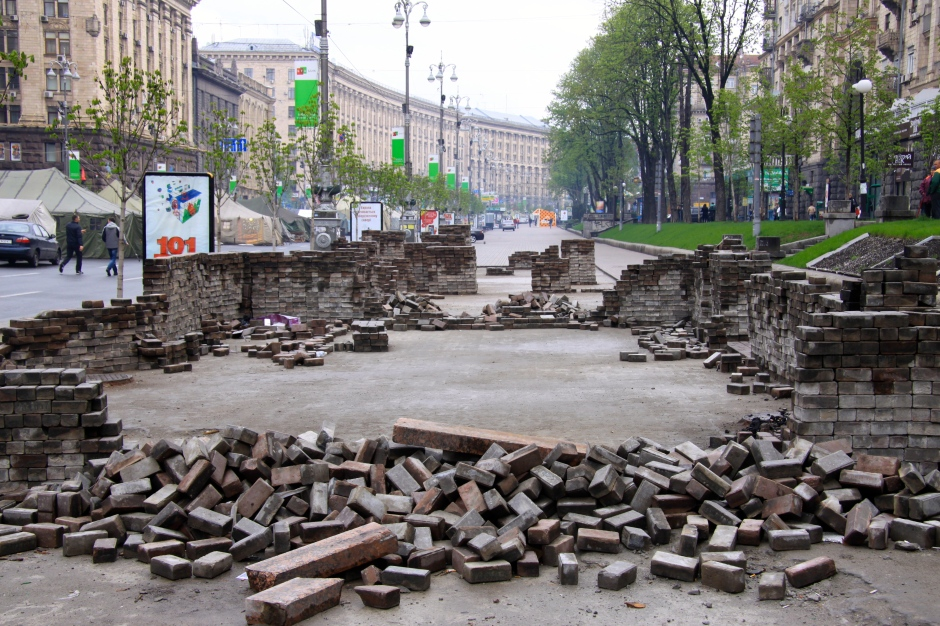 Piles of bricks that were pulled up to throw at the police