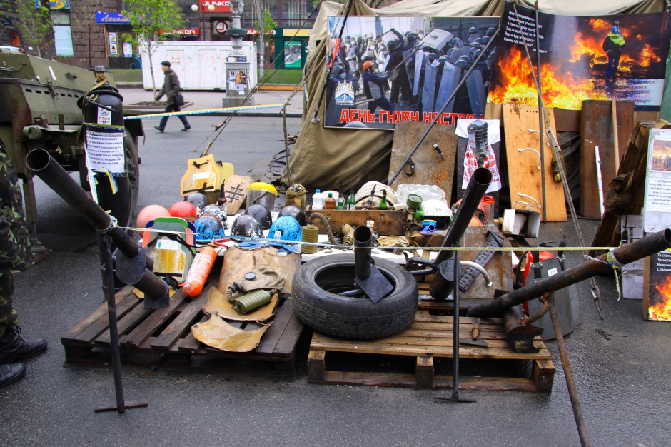 Examples of shields, gas masks and weaponry used by the protestors
