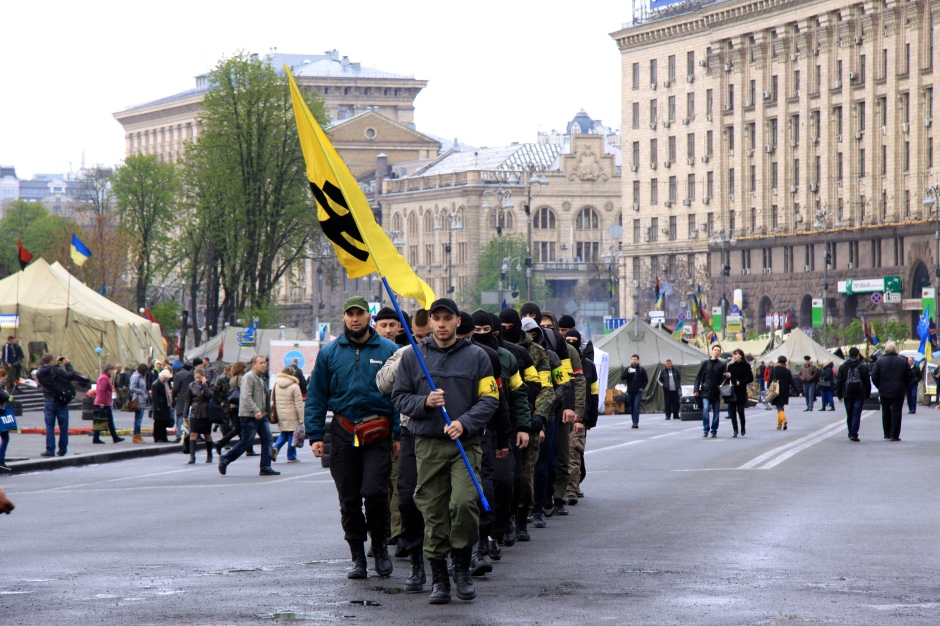 Members of the Social-National Party of Ukraine (neo-nazis) marching through the Maidan
