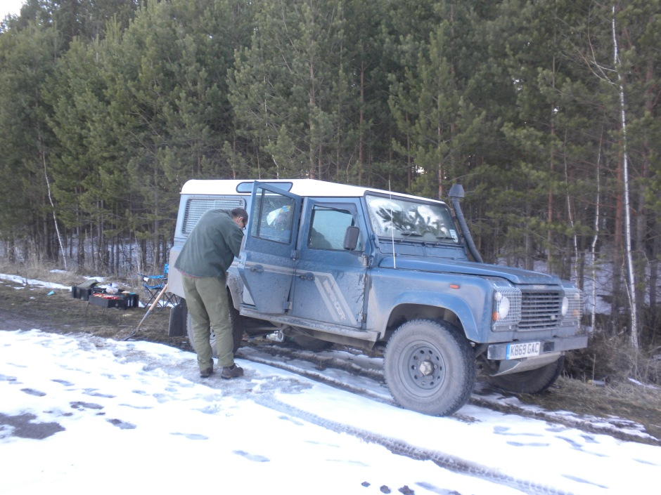 The Defender in our roadside 'camping' spot