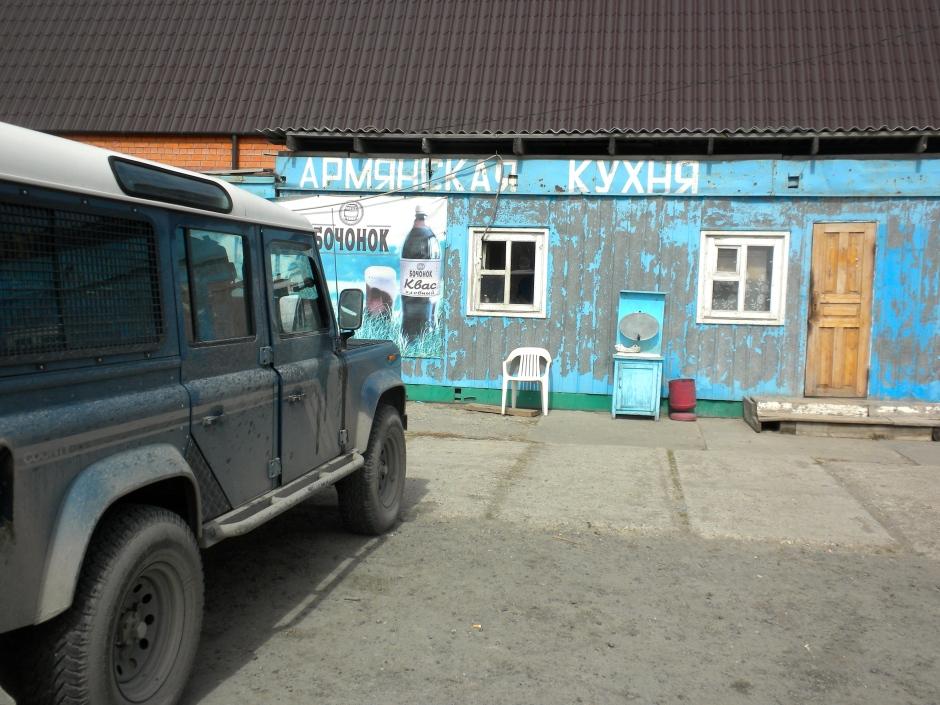 Parked outside the shashlik cafe