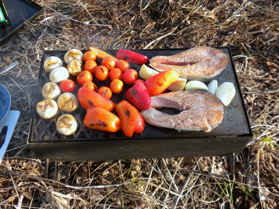 Salmon steaks and grilled veggies for dinner