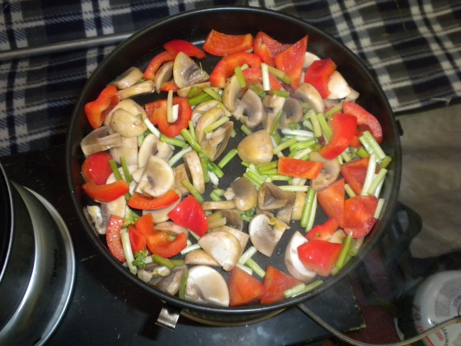 Veggies in the fry-pan before being added to the sauce
