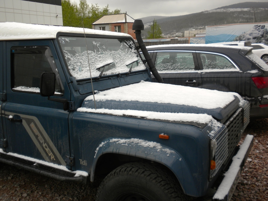 The Defender gets a dusting of snow