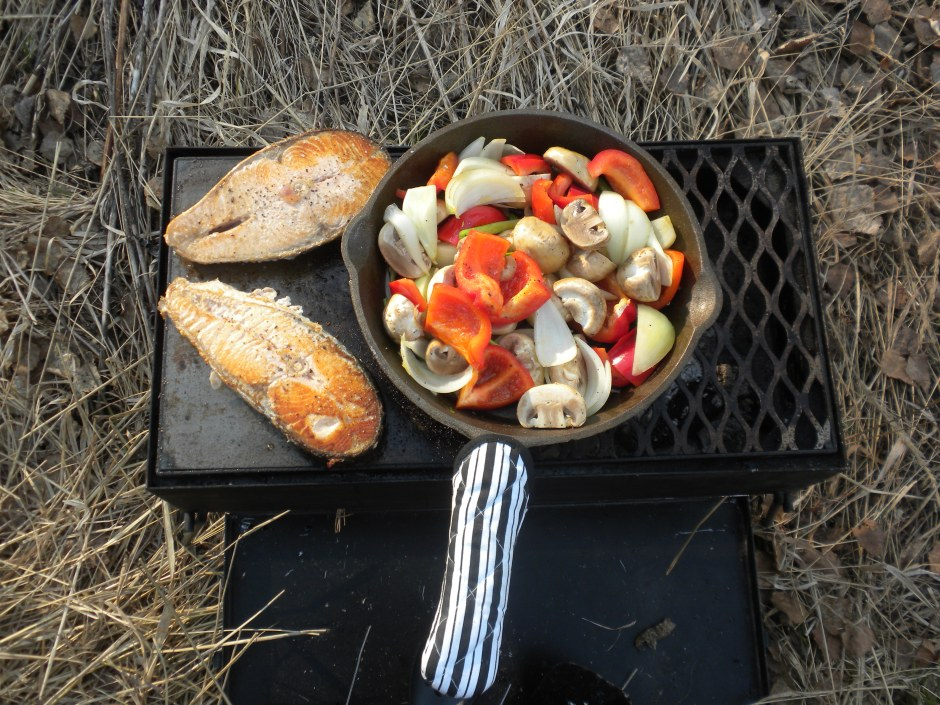 Grilled salmon and veggies for dinner - again