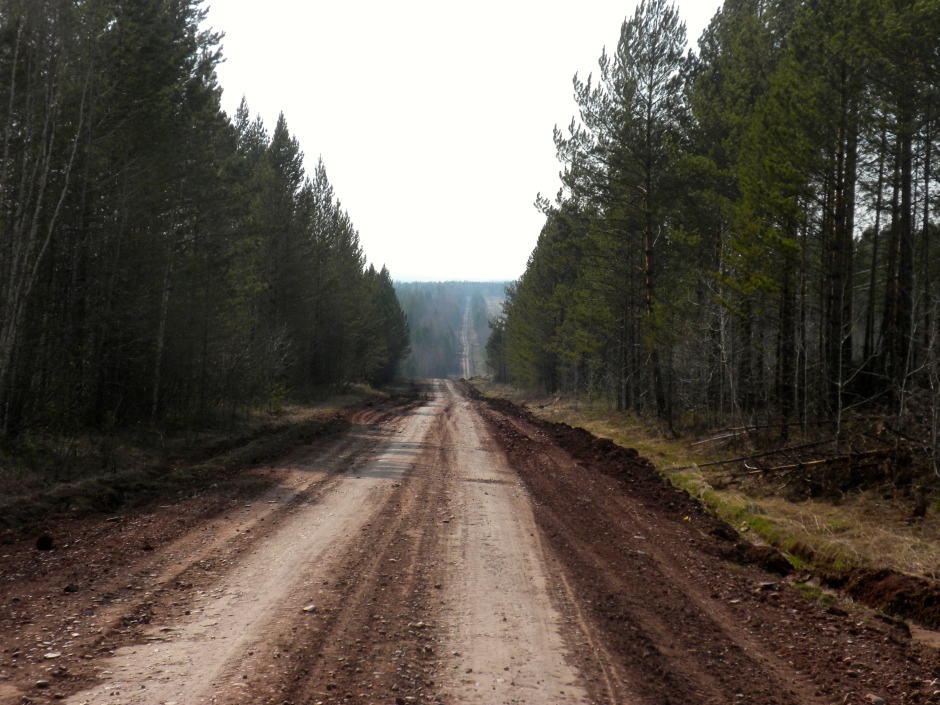 Part of the alternate road heading south to the main road