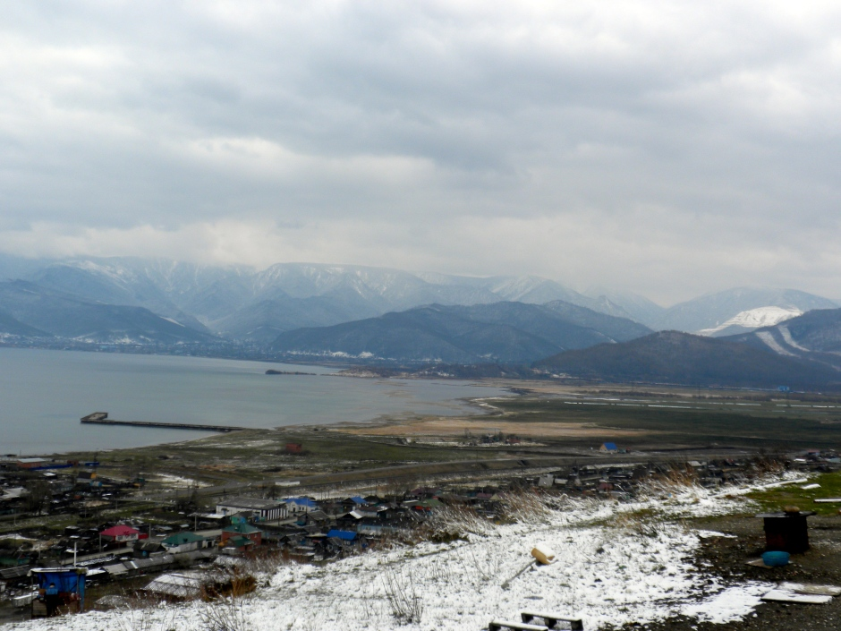 The southern shore of Lake Baikal on a snowy day