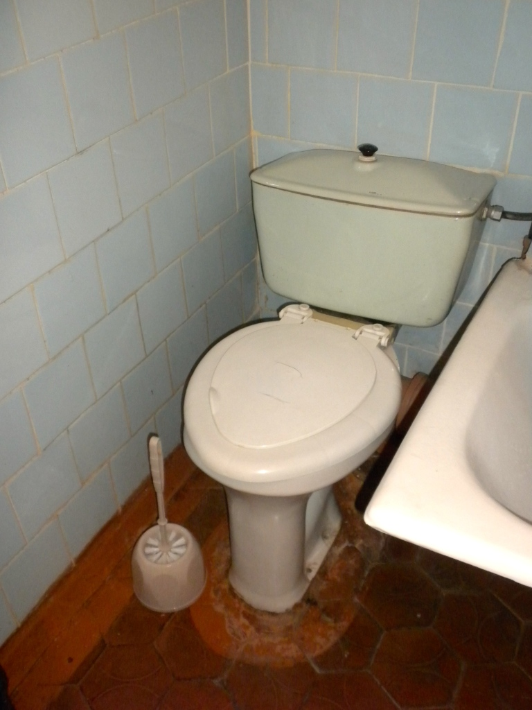 Toilet with cracked lid