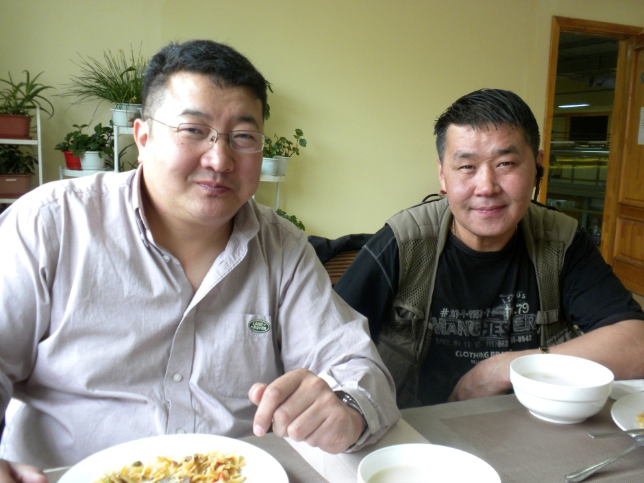 Mr. Batsaikhan (on left) and colleague at lunch