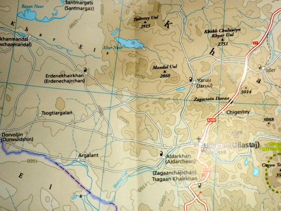 Map showing Uliastai and Erdene-Khaikhan (and the small Khar Nuur)