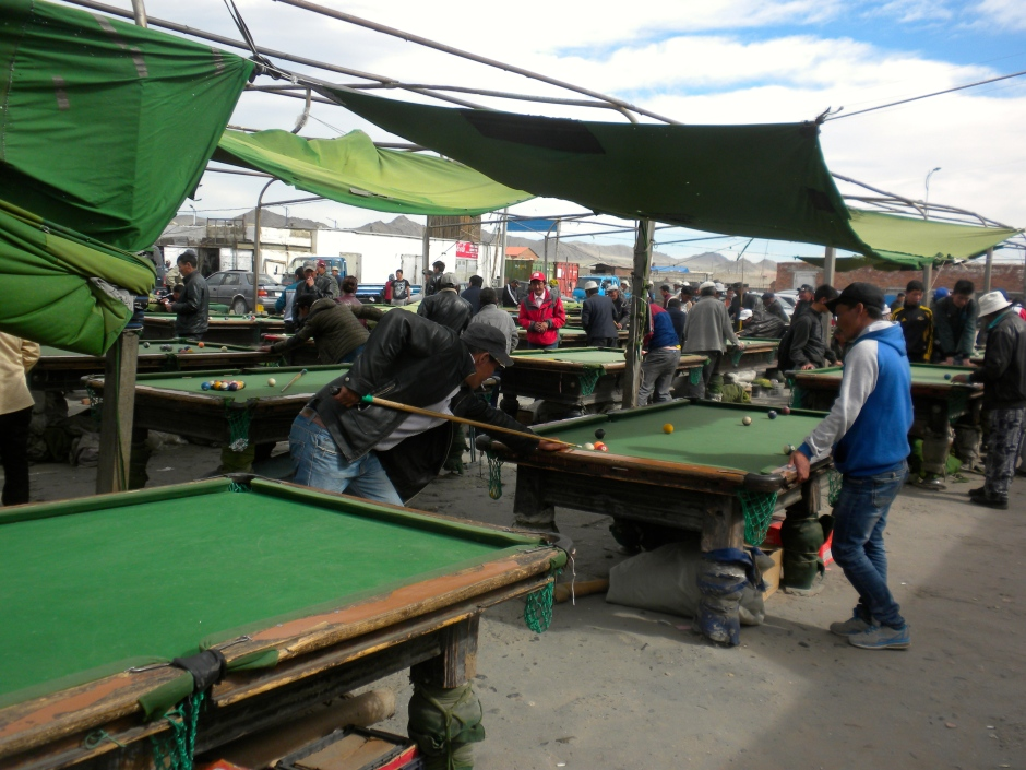 The open-air 'pool room' at the Khovd market/bazaar
