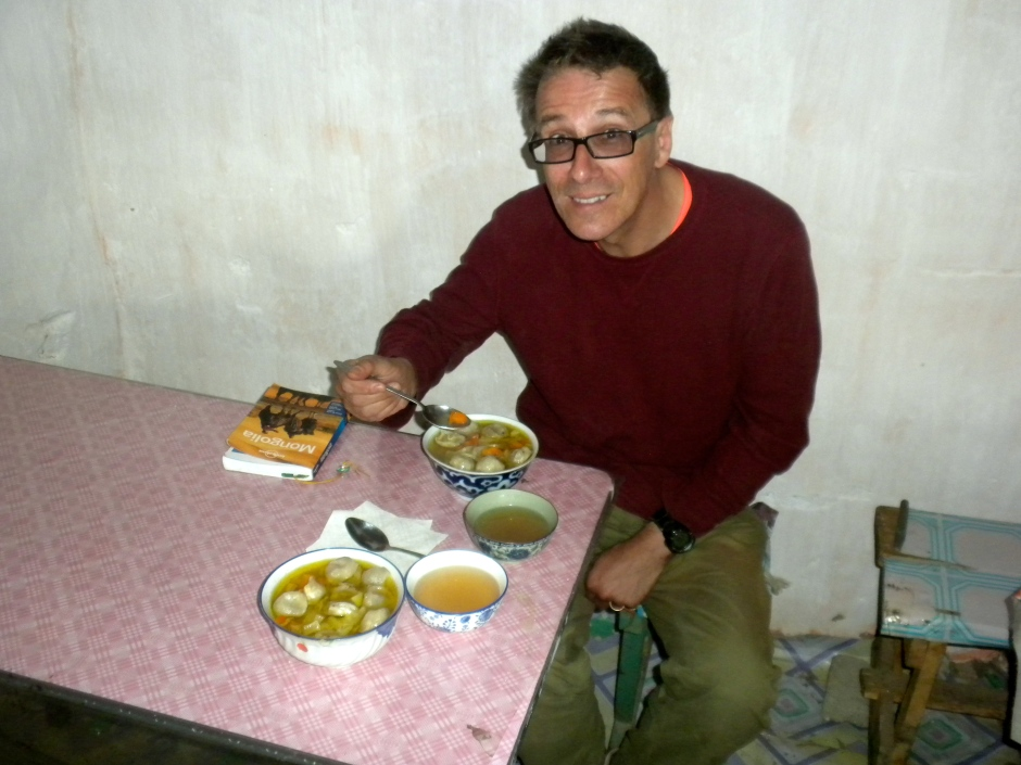 Klaus gets ready to dig into the soup