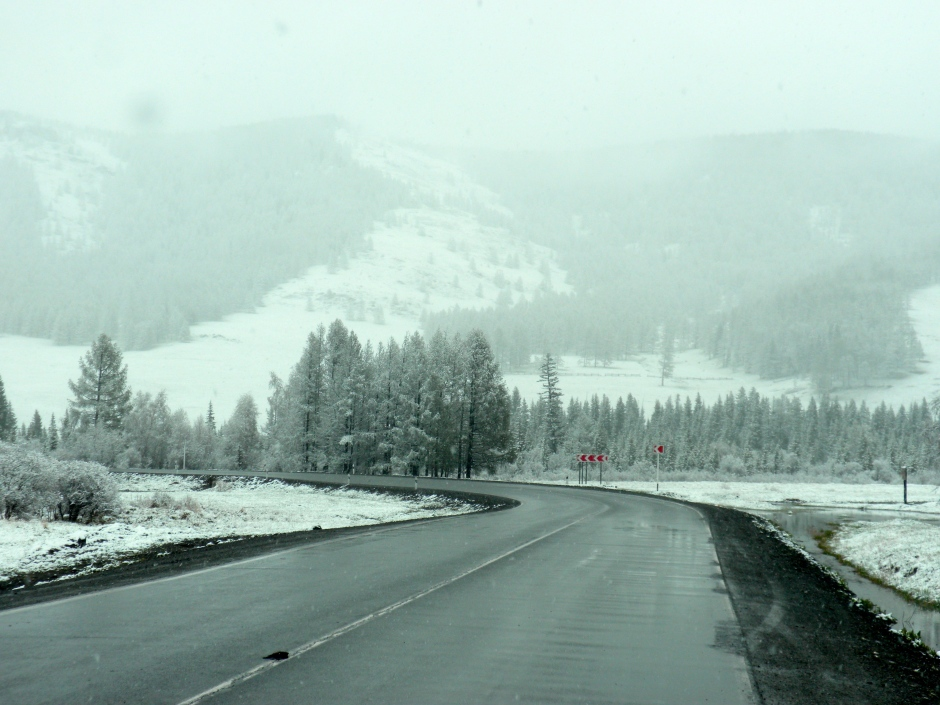 Snowing in the Altai mountains