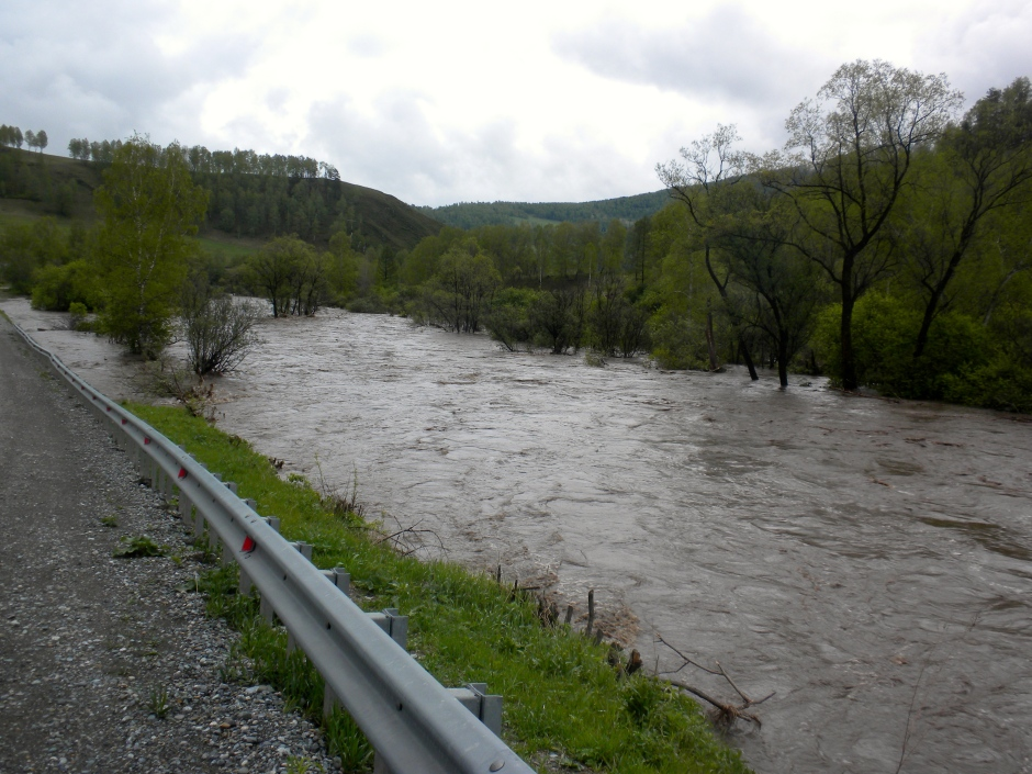 Flooding river from heavy rains