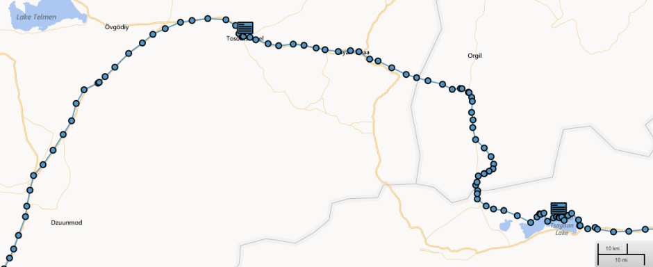 GPS track of route from Tsagaan Nuur through Jargalant and Tosontsengel