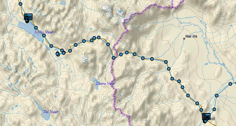 Our route to Tolbo Nuur