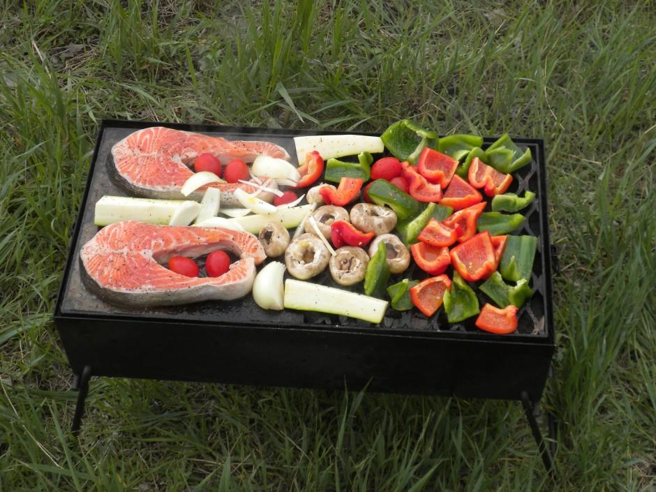 Salmon and veggies on the Bush Pig