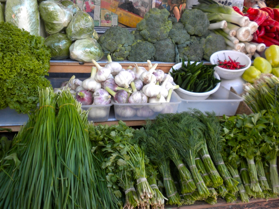 Selection of veggies on one stall