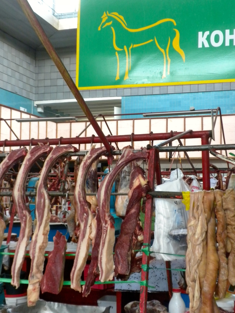 Part of a stall in the horse meat section