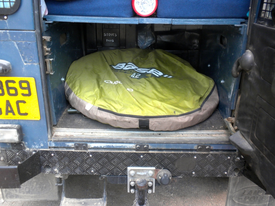 The Quechua tent took up a fair amount of space in the Defender