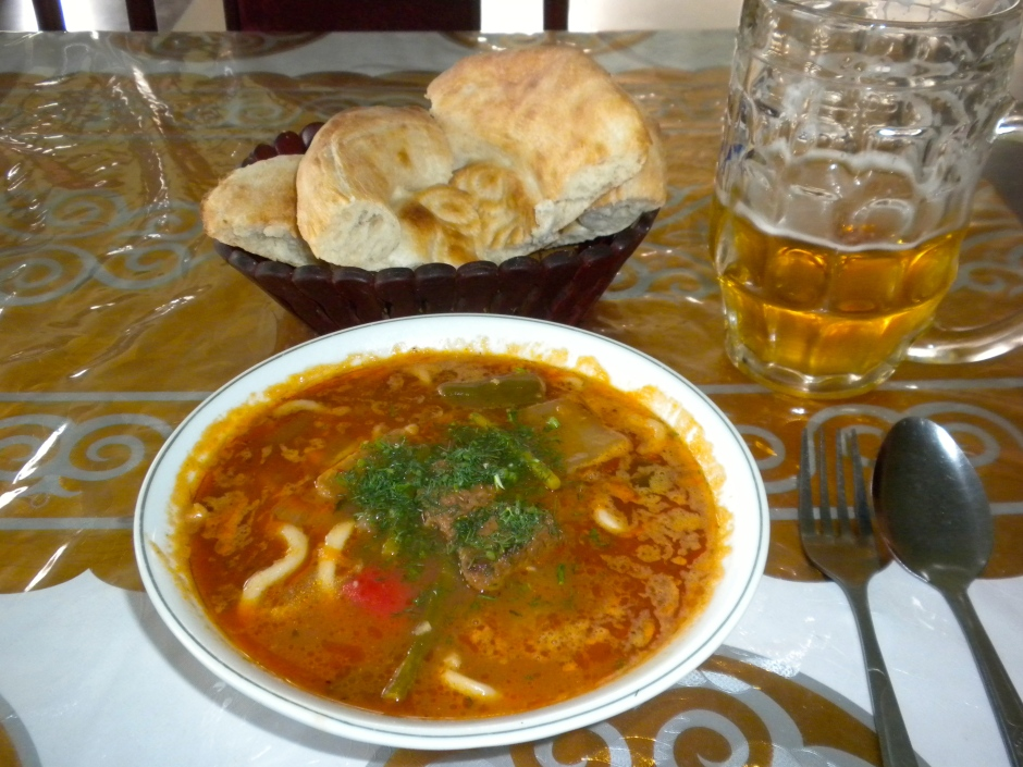Bowl of Lagman, a basket of local bread (and my draught beer)