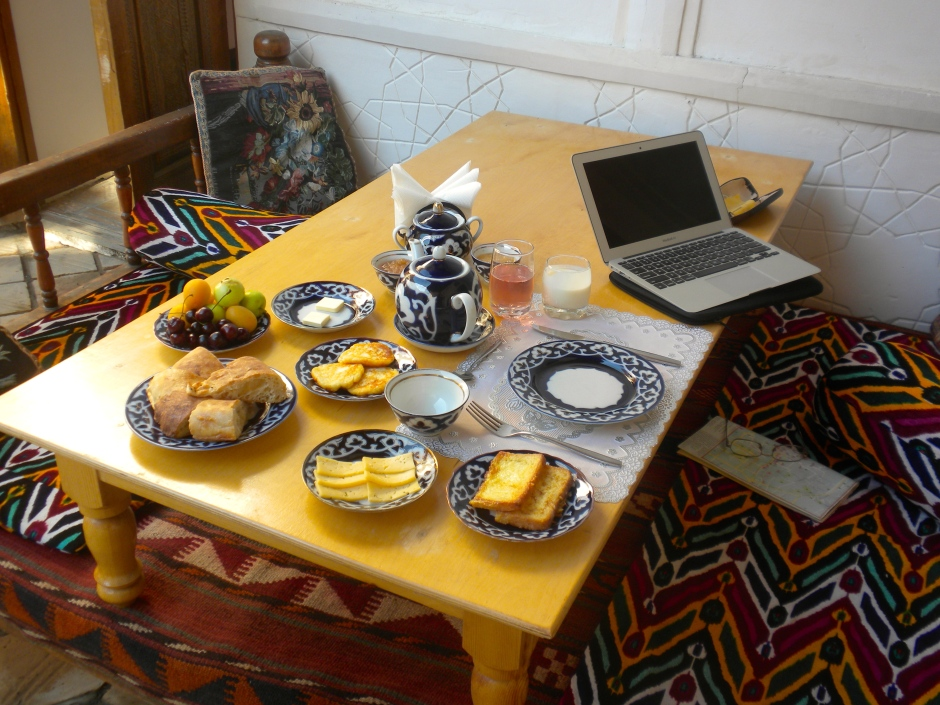 Breakfast at the Amulet Hotel, Bukhara
