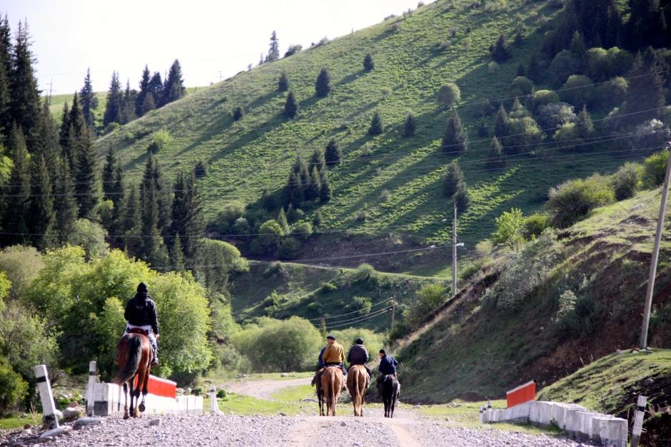 Teenagers on horseback